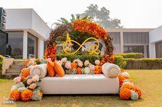 The Gorgeous Delhi Wedding of Sabya bride Ritika & Sweetheart Akshay Flowerpower! Desi Wedding Decor, Wedding Stage Design, Wedding Stage Decorations, Wedding Mandap, Home Wedding, Flower Decorations, Wedding Designs, Wedding Ideas, Telugu Wedding