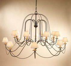 Lámpara MIriñiaque 16 luces, se puede cambiar el color de la forja, así como las pantallas