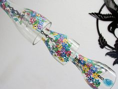 Clear wine bottle Wind Chime Flowers multi by LindasYardArt