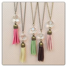 Colorful Bronze Crystal Tassel Long Necklace by elladolce on Etsy