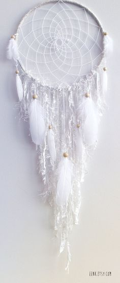 The White Arctic Fox Native Woven Dreamcatcher by eenk on Etsy
