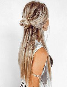 Long Hair Wedding Styles, Wedding Hairstyles For Long Hair, Wedding Hair And Makeup, Short Hair Styles, Hair Makeup, Straight Hairstyles For Prom, Bridal Hair, Hippy Hair Styles, Braids For Wedding Hair
