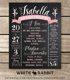 First Birthday Chalkboard Sign Ballerina by WhiteRabbitArtPrints