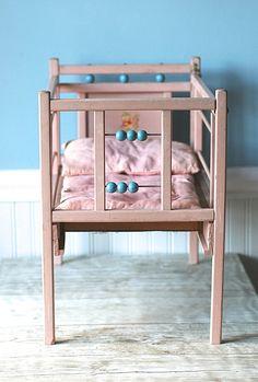 Mid Century Wooden Doll Crib Pink Aqua Decal Unique