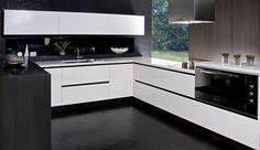 #modelolux #domicocinas http://www.domicocinas.com.ar Cocina Blanco y Negro Black & White Kitchen (960×557)