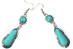 Amazon.com: 8.50$ Ginasy Silver Plated Long Turquoise Drop Dangle Earrings: Jewelry