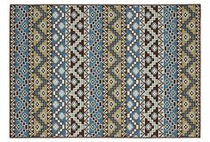 Birch Outdoor Rug, Blue/Cream on OneKingsLane.com