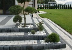 New Wall Design Exterior Walkways Ideas Garden Paving, Garden Paths, Lawn And Garden, Garden Retaining Wall, Modern Landscaping, Outdoor Landscaping, Front Yard Landscaping, Contemporary Landscape, Landscape Design