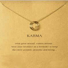 KARMA CHAIN Beautiful Karma sentiment chain. Light weight and comes with the Karma Card. Jewelry Necklaces