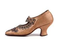 Tan leather pumps with Louis heels and heavily beaded with metal beads, France, c. 1905-10