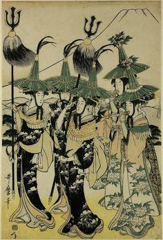 Woodblock print. Girls masquerading as Korean envoys. Print artist: Kitagawa Utamaro.