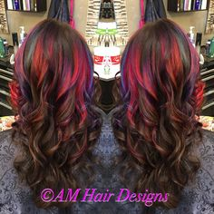 #JoicoIntensities Magenta, Indigo, Mermaid Blue, Fiery Coral, Amethyst long hair Brunette curls AM Hair Designs at Star Image