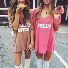 20 Couples Halloween Costumes To Try With Your BFF - butter and jelly halloween costume for you and your bff!bff halloween costumes 31 Greatest DIY H . Halloween Costume Couple, Cute Couples Costumes, Couples Halloween, Best Friend Halloween Costumes, Hallowen Costume, Halloween Outfits, Halloween Ideas, Halloween Recipe, Women Halloween