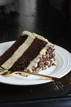 Chocolate honey layer cake with salted honey flour buttercream and raw cocoa nibs - Always Order Dessert