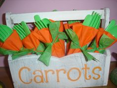 Easter Carrot Cutlery Box Stencilled using Cricut Alphalicious cartridge