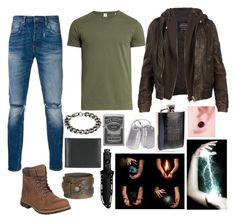 """Mutant OC"" by sammywinchester05 ❤ liked on Polyvore featuring Levi's, Timberland, Sørensen, Steve Madden, AllSaints, Zippo, Ettinger, Cold Steel, men's fashion and menswear"