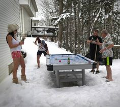 Outdoor pool table.  Do you have no room in your home for a pool table?  How about an outdoor pool table