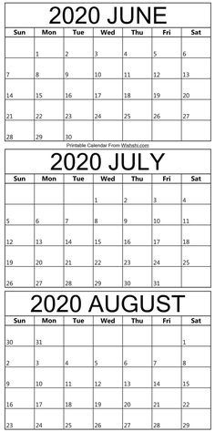 June To August Calendar 2020 September Calendar, Calendar 2020, Printable Calendar Template, Printables, Holidays, Free, Vacations, Holidays Events, Print Templates