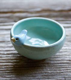 adorable blue bird bowl