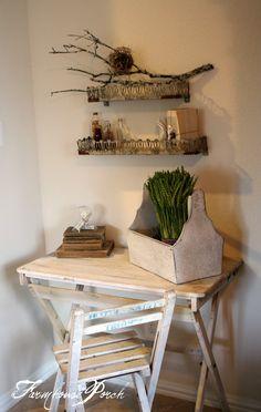 The Farmhouse Porch: Desk Reveal! New CrUsTy shelves,sticks, and a nest of course!