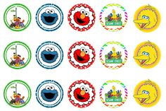 Freebies: FREE Sesame Street bottlecap images Sesame Street Cupcakes, Elmo Sesame Street, Sesame Street Birthday, Sesame Streets, Leo Birthday, Boy First Birthday, 1st Birthday Parties, Elmo Decorations, Diy Birthday Decorations