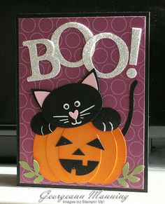 Halloween Card in purple.luv the punch art jack-o-lantern and black cat! Cat Cards, Kids Cards, Greeting Cards, Thanksgiving Cards, Holiday Cards, Dulceros Halloween, Halloween Punch, Handmade Halloween Cards, Cricut Halloween Cards