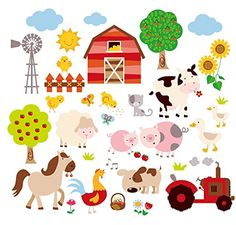 Farm Friends Baby/Nursery Peel & Stick Wall Art Sticker Decal Pre-cut, Peel & stick Instantly brighten up any space Remove in minutes without damaging your wall Repositionable; Removable 4 sheets of x Alphabet Wall Decals, Alphabet Nursery, Animal Wall Decals, Flower Wall Decals, Nursery Wall Decals, Farm Animal Nursery, Farm Nursery, Nursery Themes, Nursery Ideas