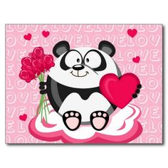 Love panda from the circle series post cards - Zazzle