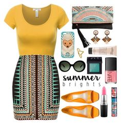 """Summer Brights: Tribal"" by cara-mia-mon-cher ❤ liked on Polyvore featuring River Island, Prada, Rip Curl, MAC Cosmetics, Bourjois, Christian Dior, NARS Cosmetics, Tory Burch, philosophy and Niino Jewelry"