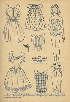 Debra Lynn paper doll page. Wee Wisdom Magazine