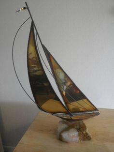Your place to buy and sell all things handmade Vintage Nautical Decor, Boat Art, Metal Art Sculpture, Copper, Brass, Sailboat, See Photo, 1970s, Mario