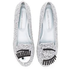 Chiara Ferragni Flirting Sleeper Loafer Shoes ($310) ❤ liked on Polyvore featuring shoes, loafers, flats, glitter flat shoes, glitter shoes, slip-on shoes, glitter flats shoes and slip on loafer