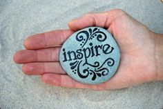 Painted Stone / Inspire  / Sandi Pike Foundas. via Etsy. #Stone Art