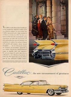 """Cadillac Car Ad """"The New Measurement Of... (1959)"""