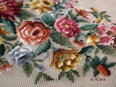 Vintage tapestry needlepoint preworked florals for Piano/Bench seat~
