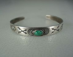 OLD Fred Harvey era STAMPED 900 coin SILVER & TURQUOISE CHILDs INDIAN BRACELET