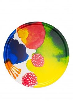 Marimekko Juhannustaika Jumbo Round Tray An extremely large tray, the Marimekko Juhannustaika Round Tray was built for big things. Made from plywood and fabric, the colorful floral surface is perfect for serving large groups snacks or beverag. Watercolor Pattern, Watercolor Print, Marimekko Fabric, Scandinavia Design, Round Tray, Large Tray, Museum Shop, Kartell, Christmas Gift Guide
