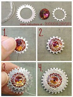 Wire Wrapping a Crystal & Gears - would look great as a gift wrap accent