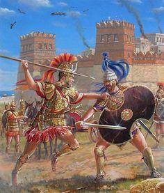 Historia y mito; Aquiles a punto de enviar al Hades al gran Héctor. Más en www.elgrancapitan.org/foro