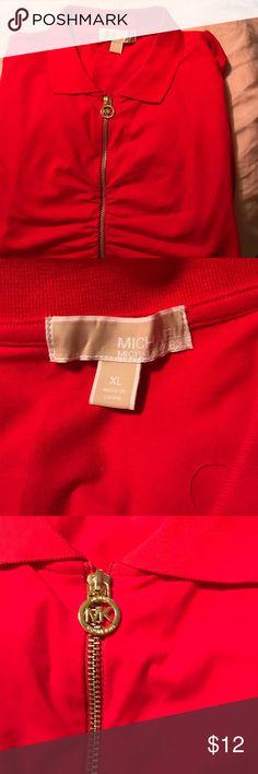 Michael Kors shirt Short sleeve red collar shirt, zip front . MICHAEL Michael Kors Tops