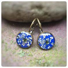 """Ohrringe - """"Gierschblüte"""" Ohrschmuck dunkelblau Brisur 14 mm - ein Designerstück von Kiezelfen bei DaWanda"""