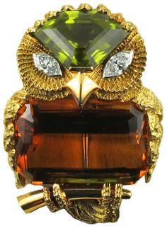 Cartier owl brooch