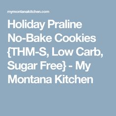 Holiday Praline No-Bake Cookies {THM-S, Low Carb, Sugar Free} - My Montana Kitchen