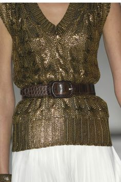 Metallic sweater vest for now and layered for the Fall ~Oscar de la Renta