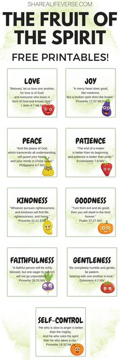 Fruit Of The Spirit Free Printable For Kids And Adults! - Cute Freebies For You Fruit of the Spirit printable posters for kids! Great for Sunday school! With fruits and bible verses about the fruit of the Spirit. Bible verses for kids. Fruit Diet, New Fruit, Kids Fruit, Fruit Fruit, Fruit Kabobs, Fruit Juice, Fruit Party, Fruit Smoothie Recipes, Fruit Recipes