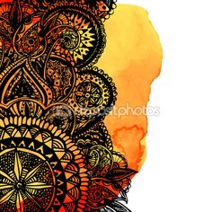 Pincel aquarela laranja — Vetores de Stock © kotokomi #75418665