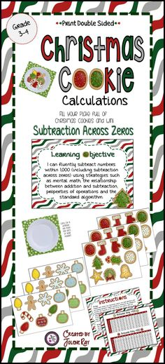 Subtraction across zeros is a difficult concept for elementary students to grasp. Many third and even 4th grade students need extra practice to master this concept. Why not do so in a fun, hands-on way that your students will love. They will be learning, having fun and celebrating the holiday season.
