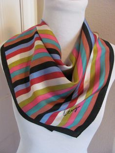 "Kenzo // Beautiful Black Stripe Silk Scarf  // 21"" Inch 54cm Square // Best of the Best"