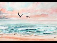 Easy Waves Watercolors Painting Tutorial - YouTube #artsandcraftsvideos,