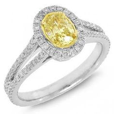 1.16ct 14k Two-tone Gold Oval Shape Natural Fancy Yellow Diamond Ring